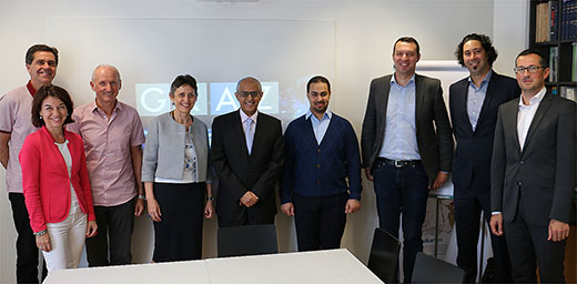 Administrative staff from the City of Graz with their guests from Middle East (left to right): DI Bernhard Rieder and DI Anneliese Kapfenberger-Pock (Survey Department), Alfred Hofstätter (Town Planning Department), DI Elke Achleitner (Director City Survey), Eng. Yousef Al Feraiheedi (Director, Environmental Monitoring, ADA, KSA) and Eng. Abdelaziz El Megbel (Manager, Environmental Planning & Infrastructure Department, ADA, KSA), Mag. Josef Prandstetter (SynerGIS, Vienna), Karim Elhanafi (CEO, ONG-IT, Vienna) and DI Bernhard Inninger (Director Town Planning).  © Stadt Graz/Wilfried Ganster