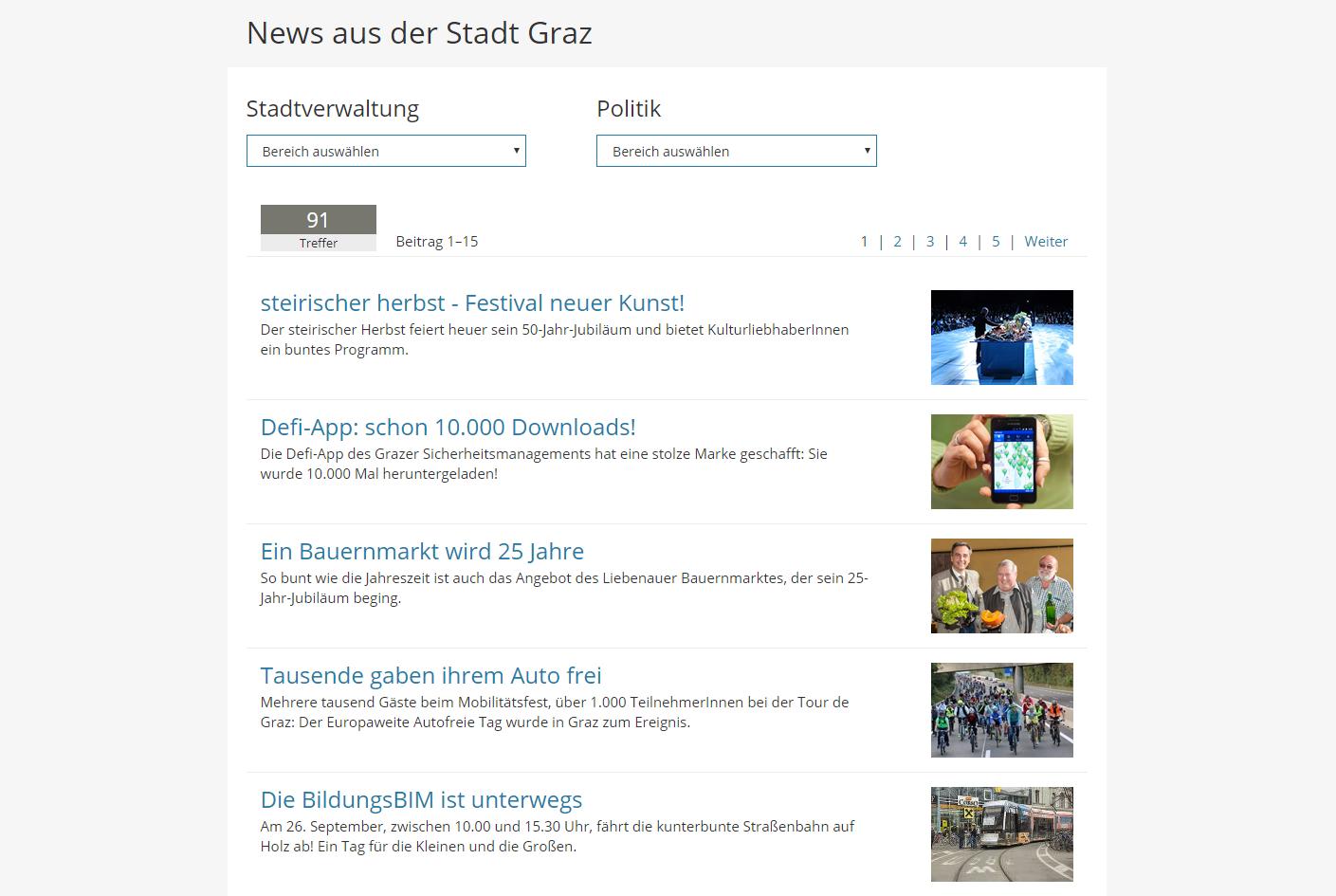 Stadtnachrichten-Websites