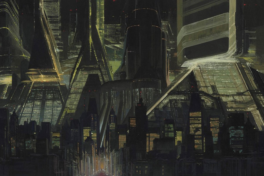 Los Angeles Skyline, aus dem Film Blade Runner, Syd Mead, 1981 © Syd Mead